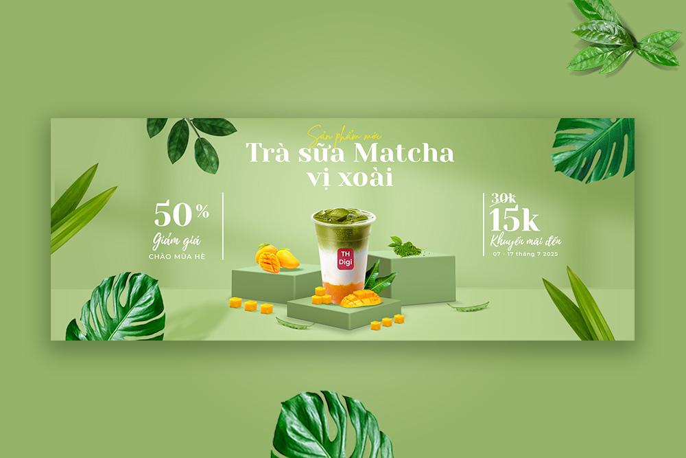 Mẫu Banner thiết kế sản phẩm Trà sữa Matcha