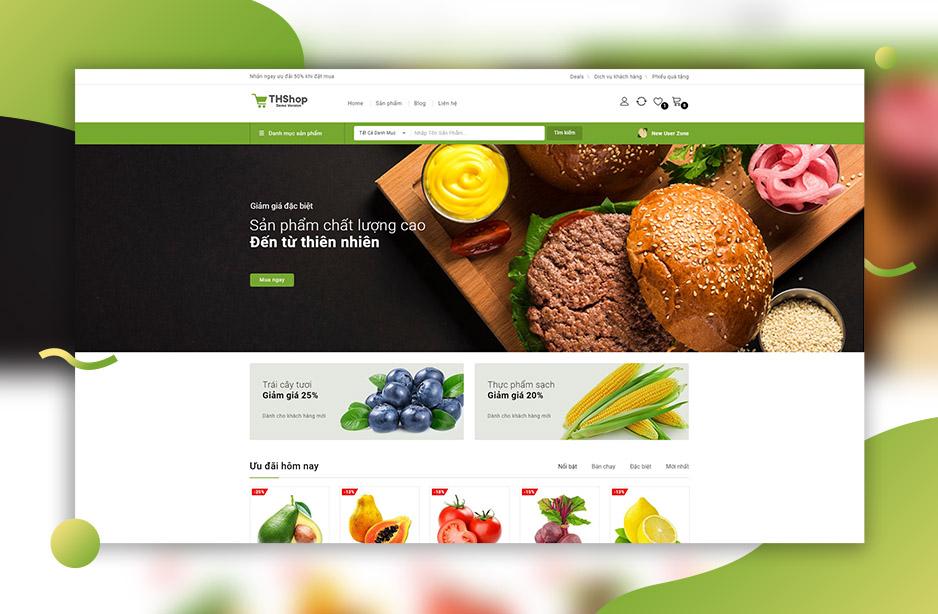 Mẫu Demo trang bán hàng rau củ quả, nguồn gốc tự nhiên